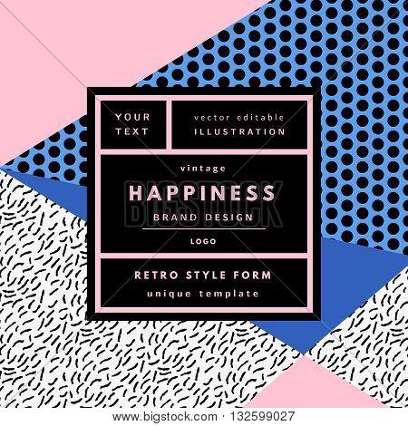 Retro logo in frame outline memphis geometric background. Retro label package template. Romantic minimal logo in frame on geometric layout. Retro package template. Trend layout, art print.