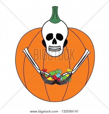 A skeleton in a pumpkin costume for Halloween. Happy skeleton with a big amount of candy in his hands. Funny cartoon skeleton.