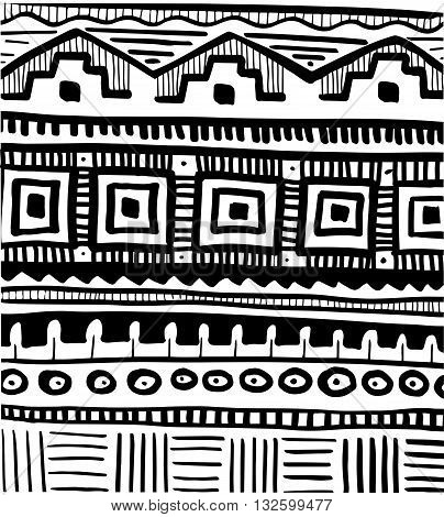 Tribal hand drawn African abstract pattern,  vector illustration
