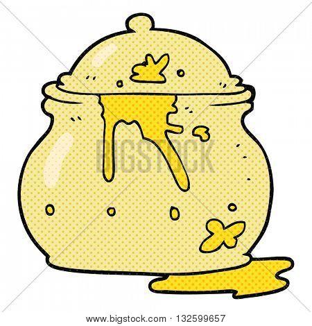freehand drawn cartoon messy mustard pot