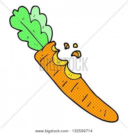 freehand drawn cartoon bitten carrot