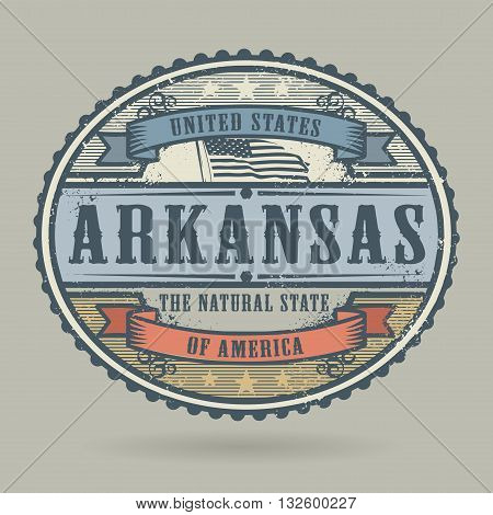 Vintage stamp or label with the text United States of America, Arkansas, vector illustration
