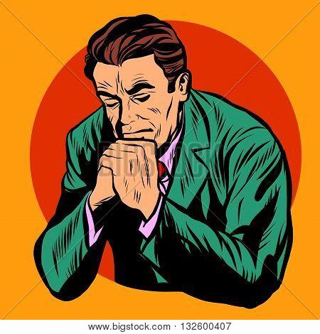 Man praying religion faith pop art retro vector. Retro religious man. Christianity Protestant Catholic