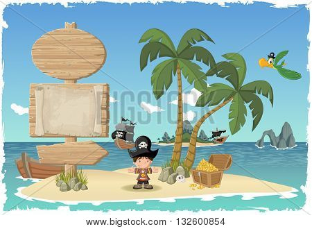 Wooden sign on a beautiful tropical island with cartoon pirate boy.
