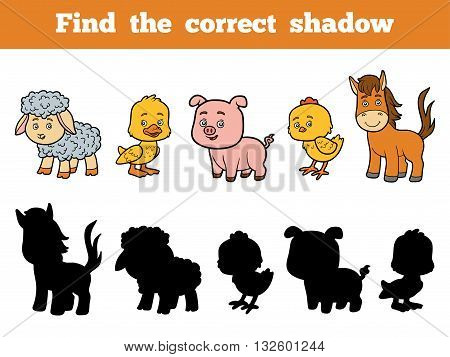 Find The Correct Shadow For Children. Farm Animals