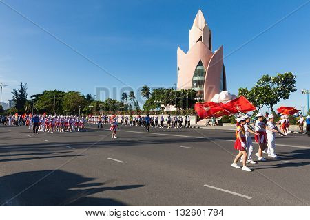 Pioneer Parade In Nha Trang, Vietnam
