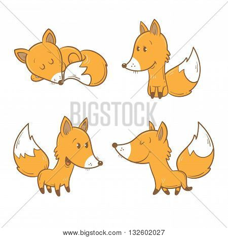 Cute cartoon foxes set. Funny forest animals. Four foxes  in different poses. Children's illustration. Vector image.
