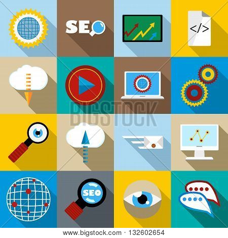 SEO icons set in flat style for any design