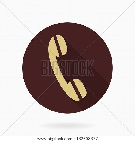 Fine golden telephone receiver in the brown circle. Flat design with long shadow