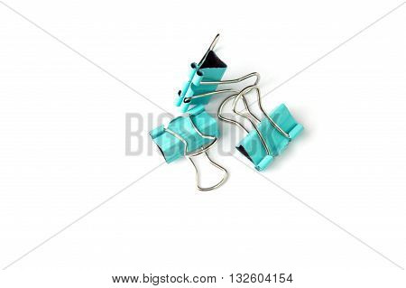 Binder clip paperclip isolated on white background