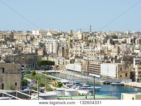 Panoramic view of Cospicua or Bormla also known by its titles Cittaa Cospicua is a double-fortified harbour city in the South Eastern Region of Malta also it is one of the Three Cities, Birgu, Malta