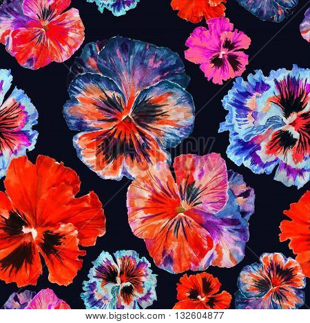 Watercolor floral pattern. Colorul pansies isolated on dark background. Red blue flowers