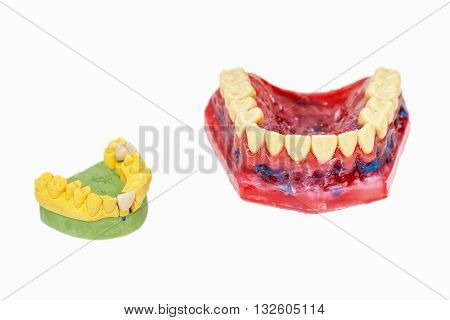 Technical shots of model on a dental prothetic laboratory. Isolated on white