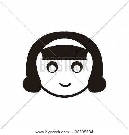 design Baby icon doll_Black face head vector illustration