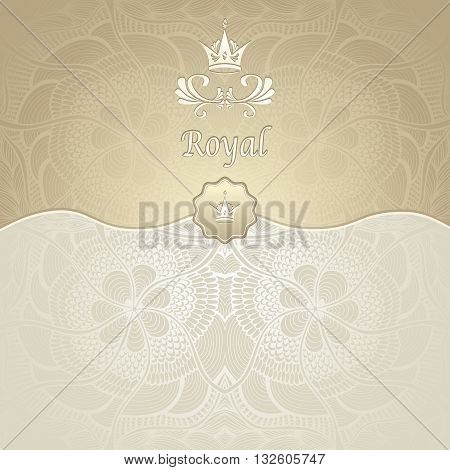 Royal template background with crown and Zen-tangle seamless pattern in gold beige  colors for decorate package or for advertising different things