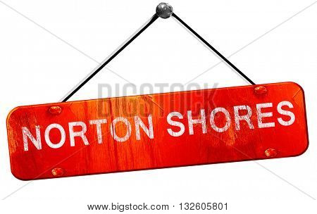 norton shores, 3D rendering, a red hanging sign