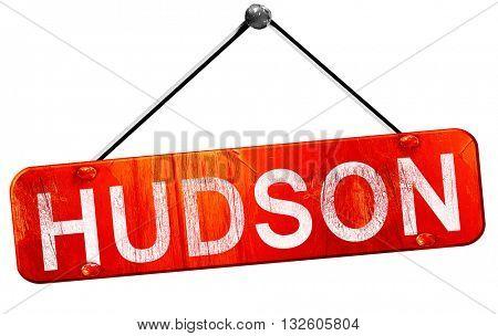 hudson, 3D rendering, a red hanging sign