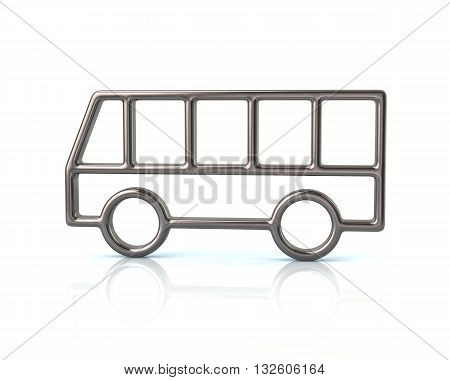 3D Illustration Of Silver Bus Car Icon