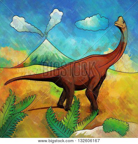 Brachiosaurus. Illustration of a dinosaur in its habitat.