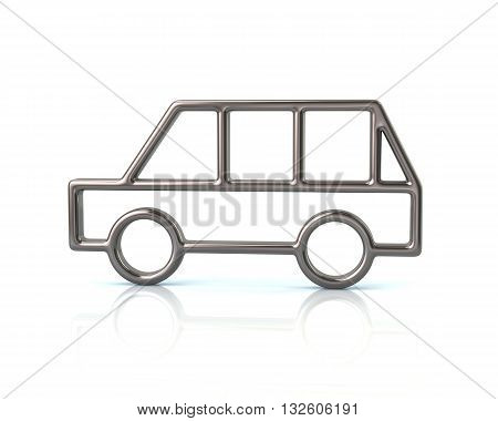 3D Illustration Of Silver Minivan Car Icon