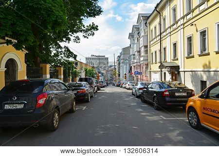 Moscow, Russia - June 2, 2016. Zvonarsky lane in the historic city