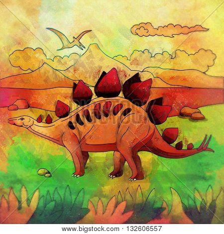 Stegosaurus. Illustration of a dinosaur in its habitat.