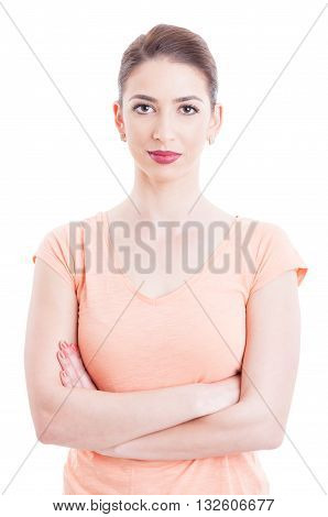 Beautiful Woman Portret With Arms Crossed And Casual T-shirt