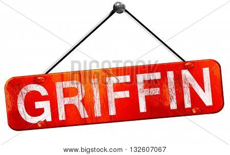 griffin, 3D rendering, a red hanging sign