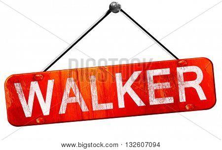 walker, 3D rendering, a red hanging sign