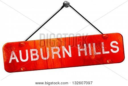 auburn hills, 3D rendering, a red hanging sign
