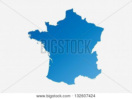 map blue of France, map of France painted in blue colors