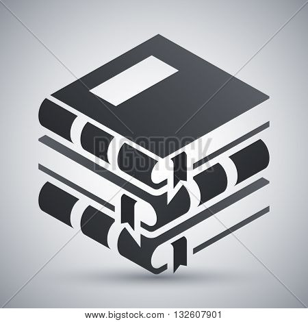 Vector Book icon. Stack of Book simple icon on a light gray background