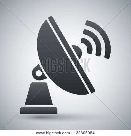 Vector Satellite Antenna icon. Satellite Antenna simple icon on a light gray background