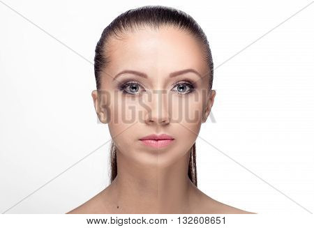 Woman,  Before And After Retouch
