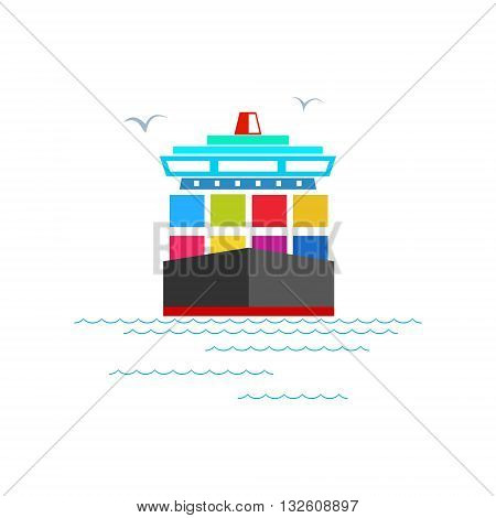 Front View of the Cargo Container Ship Isolated on White, Industrial Marine Vessel with Containers on Board, International Freight Transportation, Vector Illustration