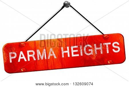 parma heights, 3D rendering, a red hanging sign