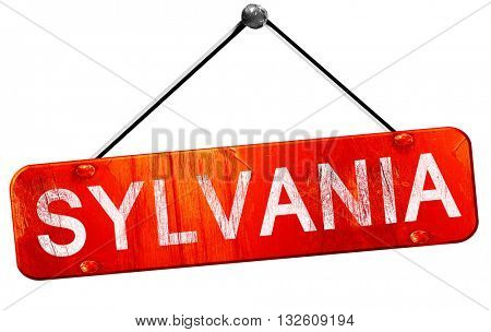sylvania, 3D rendering, a red hanging sign