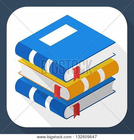 Vector Book icon. Stack of Book simple icon in flat style with long shadow