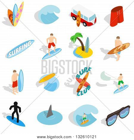 Surfing isons set in isometric 3d style isolated on white background