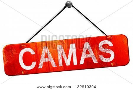 camas, 3D rendering, a red hanging sign