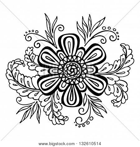 Calligraphic Vintage Pattern, Symbolic Flower and Leafs, Abstract Floral Outline Ornament, Black Contours Isolated on White Background. Vector