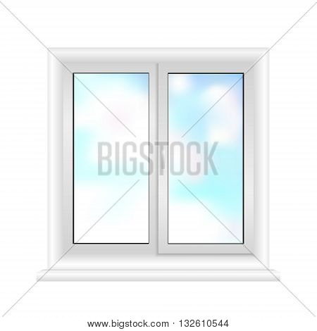 white window frame isolated on white background. 3d illustration. Plastic white window vector