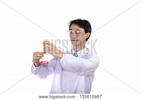 technician resercher carrying out experiments in the laboratory on white background