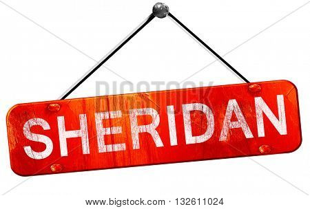 sheridan, 3D rendering, a red hanging sign
