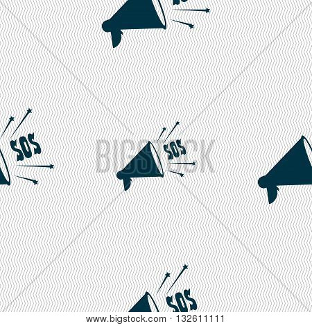 Sos Web Speaker Icon Sign. Seamless Pattern With Geometric Texture. Vector