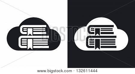 Vector Cloud Library or Online Library icon. Two-tone version of Online Library or Cloud Library simple icon on black and white background