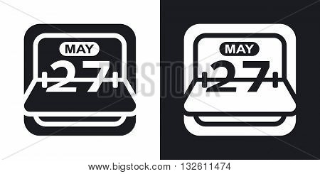 Vector Flip Calendar icon. Two-tone version of Flip Calendar simple icon on black and white background