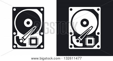 Vector HDD icon. Two-tone version of Hard Disk Drive simple icon on black and white background
