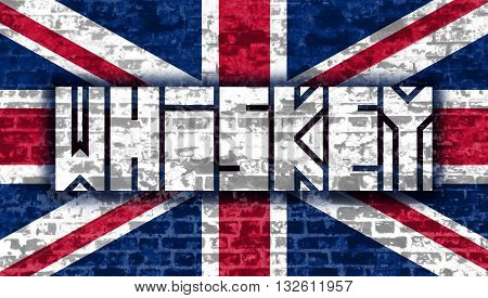 Drink alcohol beverage. Whiskey word lettering. Brick wall textured. Britain national flag