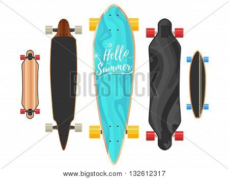 Hello summer Longboard concept. Active sport lifestyle. Vector Illustration icons isolated on white background. Flat colorful sign for web site design or print